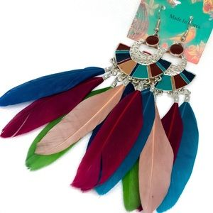 Colorful Leaf Earrings silk Feather Bohemian